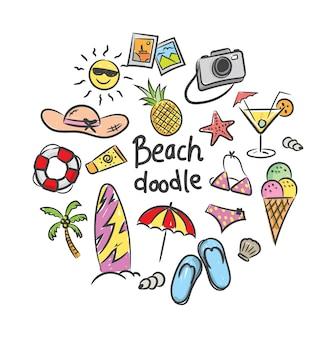 낙서 스타일의 여름 휴가 아이콘