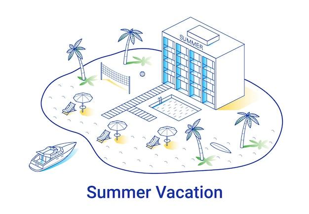 Иллюстрация летних каникул в линейном изометрическом стиле. минимальная художественная линия. концепция с гостиницей, пальмами и яхтой.