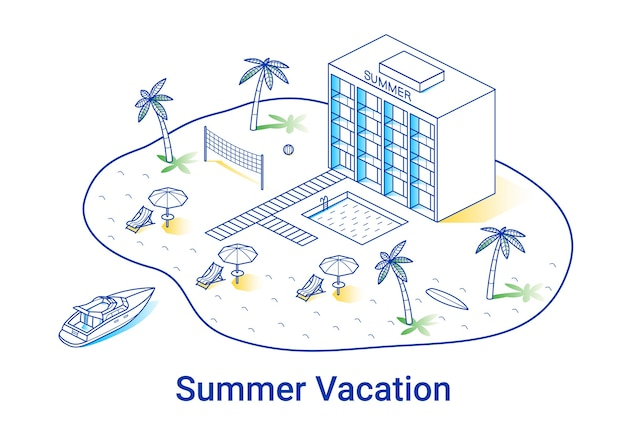 Summer vacation illustration in linear isometric style. minimal art line. concept with hotel, palms and yacht.