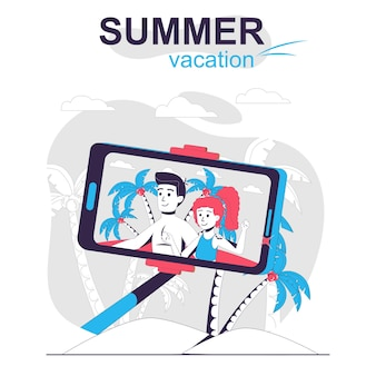 Summer vacation isolated cartoon concept couple taking selfie photo on beach resting