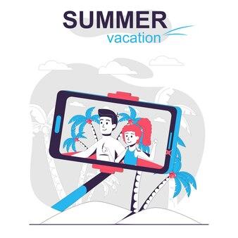 夏休みの孤立した漫画の概念のカップルがビーチで休んで自分撮り写真を撮る