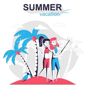 夏休みの孤立した漫画の概念幸せな女性は海のビーチで自分撮りをします