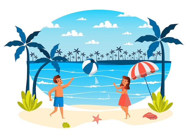 Summer vacation isolated scene girl and boy playing ball on beach