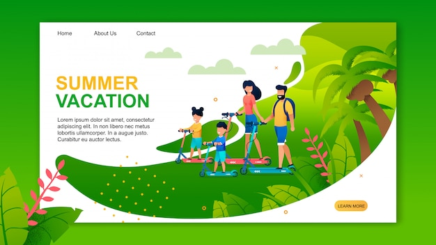 Summer vacation landing page in green color