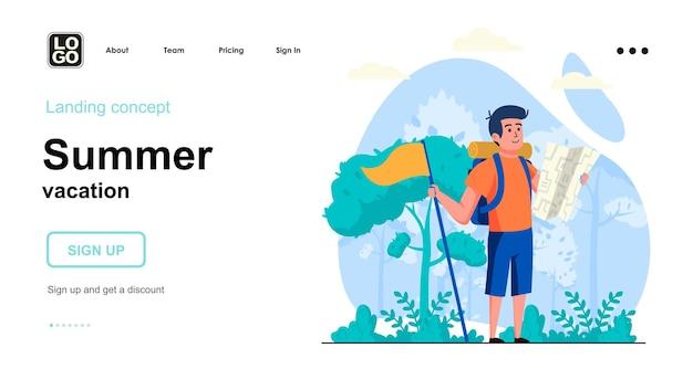 여름 휴가 방문 페이지 템플릿 평면 디자인