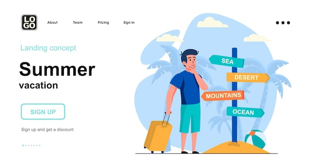 夏休みのランディングページテンプレートフラットデザイン