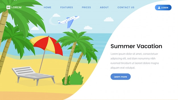 Summer vacation landing page  template