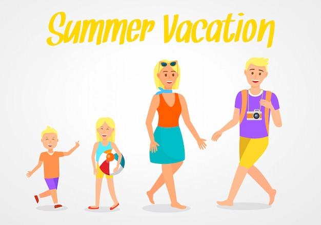 Summer vacation lettering travel vector postcard.