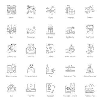 Summer vacation line icons pack