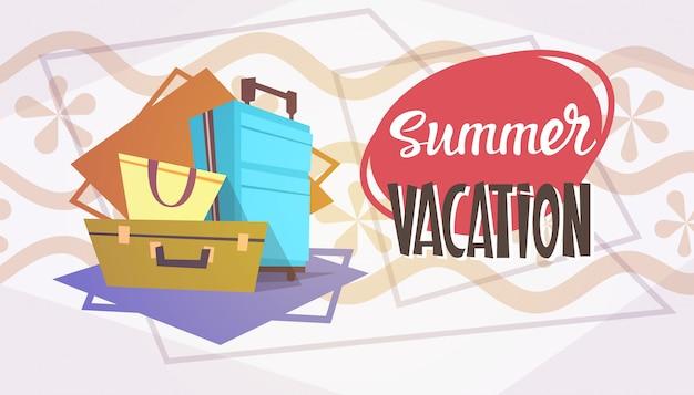 Summer vacation luggage sea travel retro banner seaside holiday