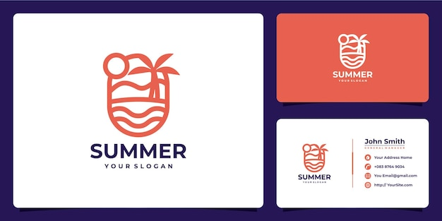Summer vacation monoline logo and business card