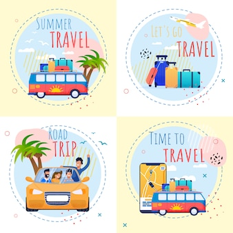 Summer vacation motivational set with inspiration quotes. time to travel and relax illustration