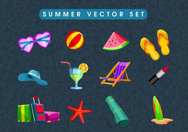평면 스타일로 설정된 여름 휴가 개체