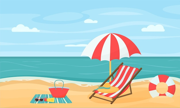Летние каникулы на пляже векторные иллюстрации в плоском стиле