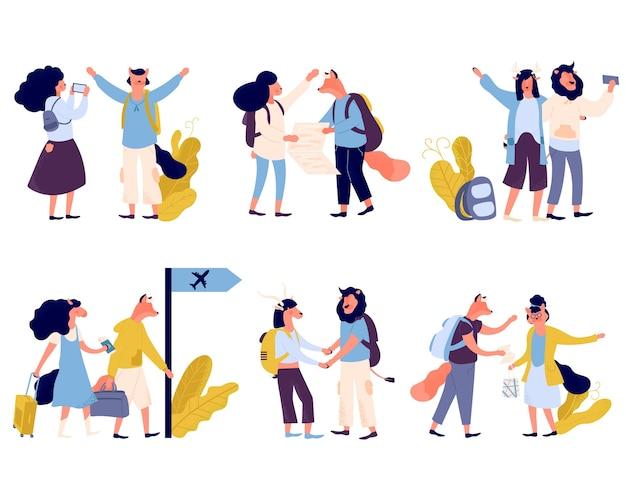 Летние каникулы люди изолированы лета туристического характера. туристические персонажи иллюстрации.