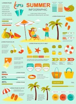 Плакат летних каникул с шаблоном элементов инфографики в плоском стиле