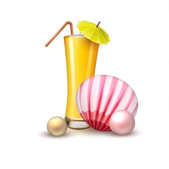 여름 휴가 현실적인 주스 유리 껍질