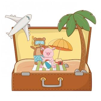 Summer vacation relax cartoon