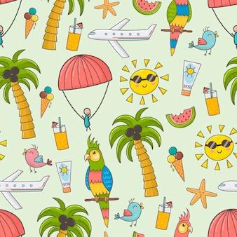 夏休みのシームレスパターン。かわいい夏の時間のテーマの背景