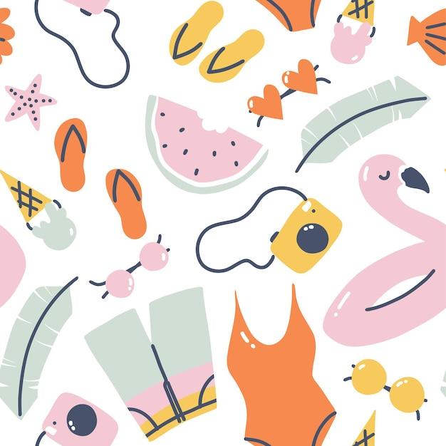 여름 휴가 완벽 한 패턴입니다. 수영복, 플라밍고 링, 안경 및 슬리퍼가 있는 직물에 대한 디자인을 반복합니다. 벡터 만화 일러스트 레이 션