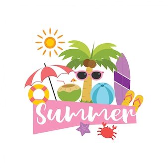 Summer vacation set in vector illustration