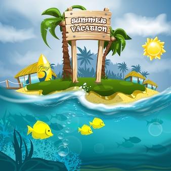 Summer vacation signboard on island and sea wave