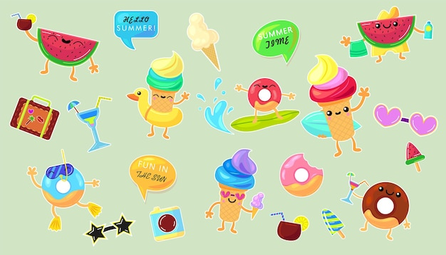 Summer vacation stickers set