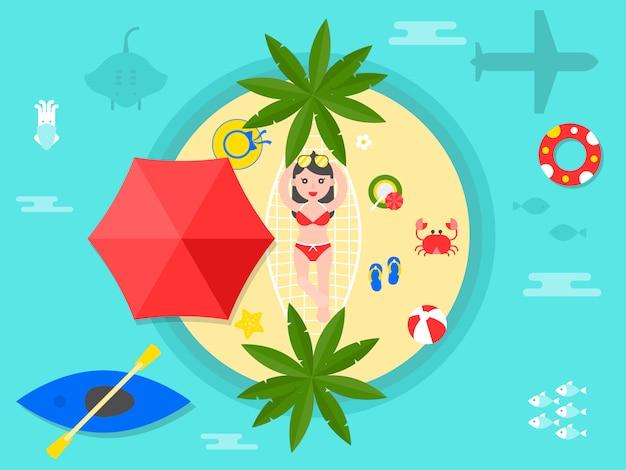 Summer vacation, summer beach illustration