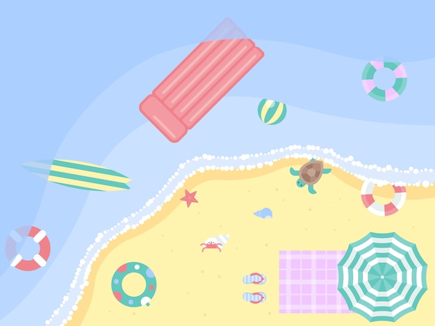Summer vacation, summer beach illustration