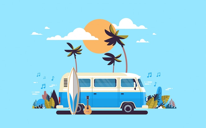 Summer vacation surf bus sunset tropical beach retro surfing vintage melody