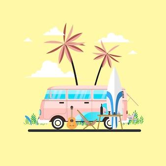 夏休みサーフィンバスサンセットトロピカルビーチ。ビーチでミニバン車で旅行や人々の概念。
