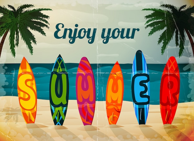Summer vacation surfboard illustration