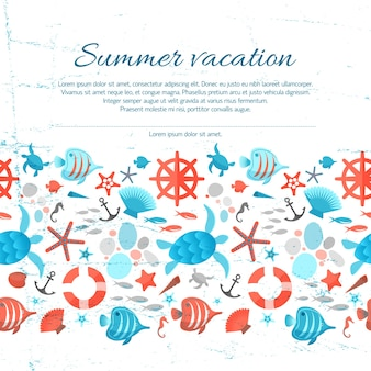 Summer vacation text on grunge paper background with colorful marine illustrations