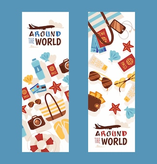 Summer vacation travel banners tour agency flyer with flat style icons of vacation accessories