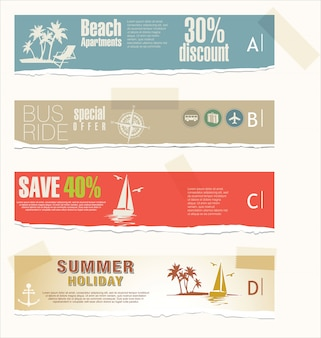 Summer vacation and travel banners