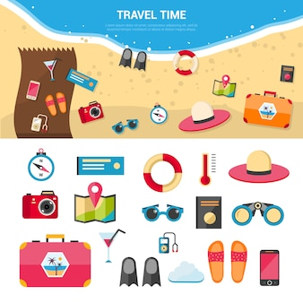 Summer vacation travel concept icons set