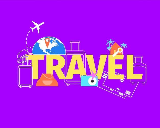 Summer vacation travel flight flat vector concept