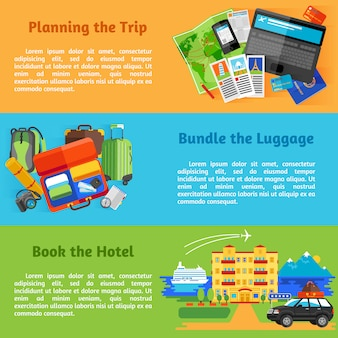 Summer vacation travel planning with hotel booking pictograms