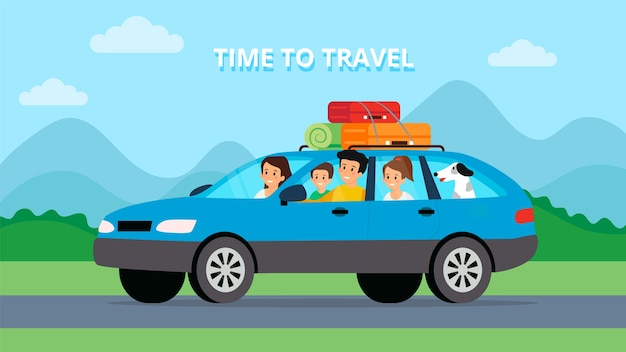 Summer vacation travel time concept. happy family trip by car. flat style. vector illustration.