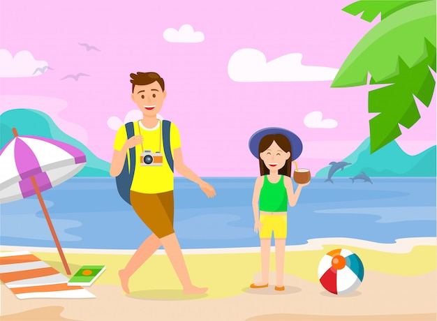 Summer vacation on tropical island illustration.