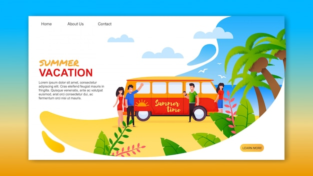 Summer vacation on tropical island landing page