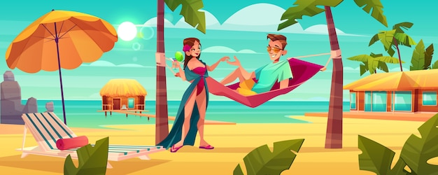 Summer vacation on tropical resort cartoon vector.