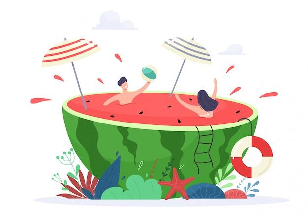 여름 휴가 분위기 개념 그림. 작은 사람들은 수분이 많은 수박에서 휴식과 수영을 즐깁니다.