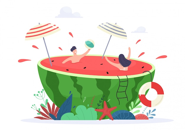 Summer vacation vibe concept illustration. tiny people enjoy relaxing and swimming in a juicy watermelon.