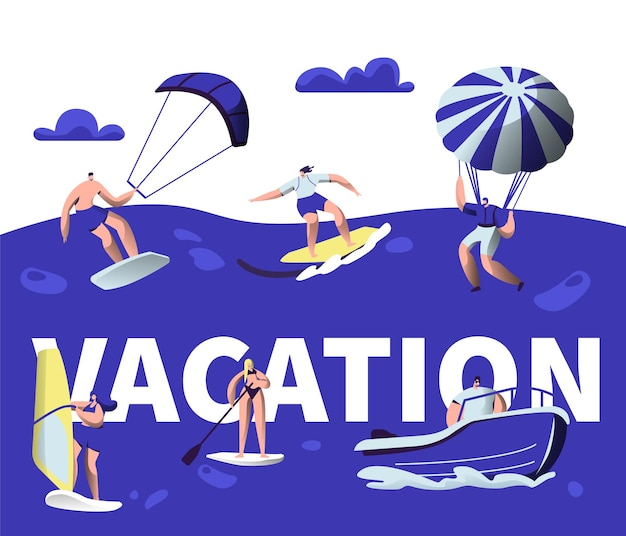 Summer vacation water sport activity typography banner.