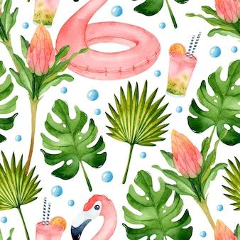 Summer vacation watercolor seamless pattern