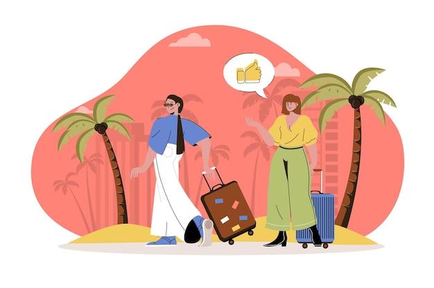 Летние каникулы веб-концепция женщины с чемоданами отправились в путешествие летнее путешествие на приморский тропический курорт
