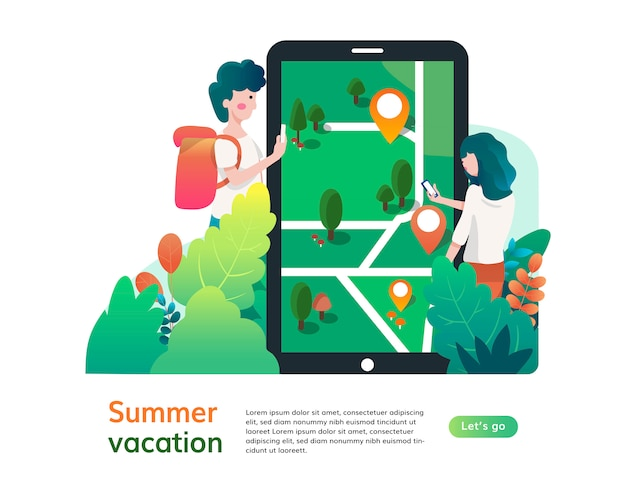 Summer vacation website template, web page and landing page design for website development