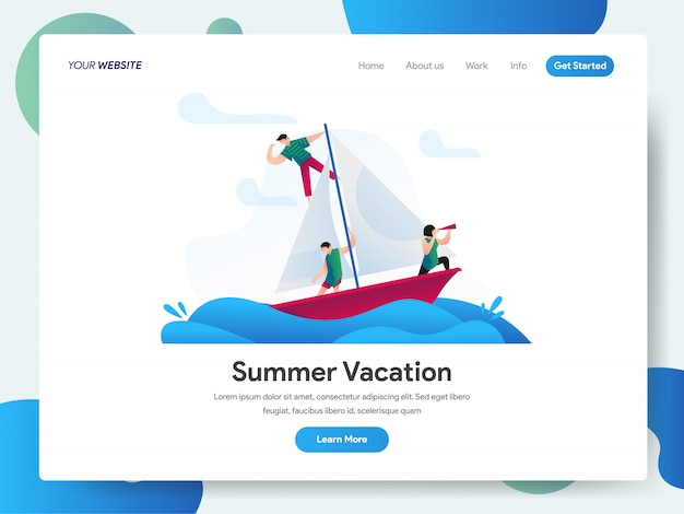 Summer vacation with boat banner for landing page