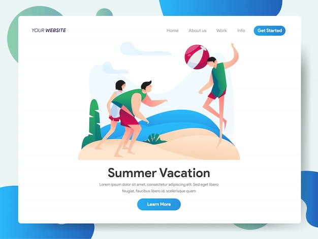Summer vacation with group of people playing beach ball banner for landing page